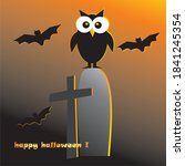 halloween  owl  bats on... | Shutterstock .eps vector #1841245354
