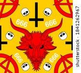 baphomet demon pattern seamless.... | Shutterstock .eps vector #1841262967