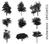 set of silhouettes of trees | Shutterstock . vector #184126511
