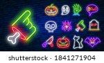 big set icon neon sign. happy... | Shutterstock .eps vector #1841271904