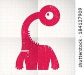 cute monster on folded paper | Shutterstock .eps vector #184127909
