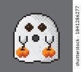 a cute ghost holding a pumpkin. ... | Shutterstock .eps vector #1841286277