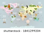 animals world map for kids... | Shutterstock . vector #1841299204