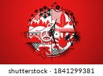 circle of life red wallpaper.... | Shutterstock . vector #1841299381