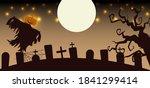 scarecrow in cemetery in full... | Shutterstock .eps vector #1841299414