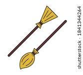 vector cartoon broom in two...   Shutterstock .eps vector #1841344264