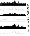 city silhouette in black  gray... | Shutterstock .eps vector #184135895
