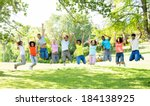 group of cheerful multiethnic... | Shutterstock . vector #184138925