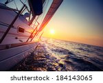 sail boat with set up sails... | Shutterstock . vector #184143065