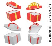 red gift box with gold ribbon...   Shutterstock . vector #1841475241