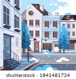 winter city town buildings with ... | Shutterstock .eps vector #1841481724