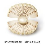 big shell with pearl on a white ... | Shutterstock . vector #184154135