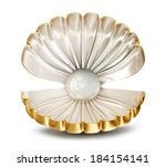 big shell with pearl on a white ... | Shutterstock . vector #184154141