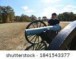 A Replica Of A Civil War Cannon ...