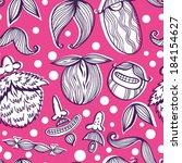 funny cartoon mustache pattern. | Shutterstock .eps vector #184154627
