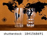 Empty Beer Glasses On A World...