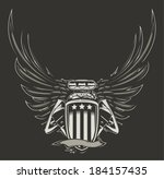 auto,automotive,badge,car,carburetor,drag,emblem,engine,exhaust,fire,flags,garage,hot,illustration,isolated