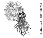 drawing of skull with root and... | Shutterstock .eps vector #1841589784