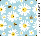seamless pattern with daisy... | Shutterstock .eps vector #1841628124