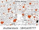 online dating doodle set....   Shutterstock .eps vector #1841635777