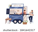 cute waffle bar food truck with ... | Shutterstock .eps vector #1841642317