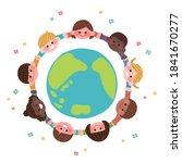 children in the world holding... | Shutterstock .eps vector #1841670277