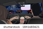 watching a movie in the open... | Shutterstock .eps vector #1841683621