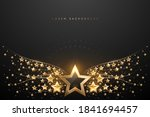 gold stars wings on black... | Shutterstock .eps vector #1841694457