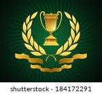 Golden Cup Emblem. Gold Goblet...
