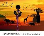 sunset landscape of forest... | Shutterstock .eps vector #1841726617