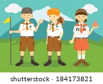 cartoon boys and girl scouts | Shutterstock .eps vector #184173821