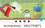 putting out fire in kitchen...   Shutterstock .eps vector #1841793871