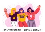 three girls friends stand... | Shutterstock .eps vector #1841810524