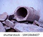 Gray Broken Concrete Pipes ...