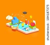 illustration of e learning... | Shutterstock .eps vector #184187375