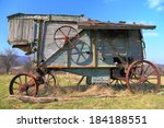 Old Time Grain Thresher On A...
