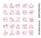ayurveda thin line icons set.... | Shutterstock .eps vector #1841981461