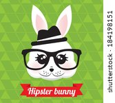 cute hipster bunny | Shutterstock .eps vector #184198151
