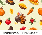 happy thanksgiving day seamless ... | Shutterstock .eps vector #1842036571