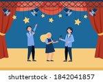happy children with microphones ...   Shutterstock .eps vector #1842041857