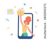 blogger getting gift. girl... | Shutterstock .eps vector #1842042271