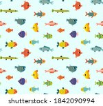 seamless marine pattern with... | Shutterstock .eps vector #1842090994