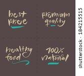 hand written food vector labels ... | Shutterstock .eps vector #184215515