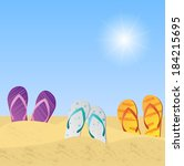 illustration of beach sandals... | Shutterstock .eps vector #184215695