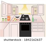 v ctor flat bright kitchen with ... | Shutterstock .eps vector #1842162637