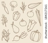 vector set of doodle vegetables  | Shutterstock .eps vector #184217261