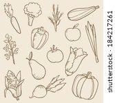 vector set of doodle vegetables  | Shutterstock .eps vector #184217261