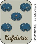 a small cafeteria with five... | Shutterstock .eps vector #1842199171