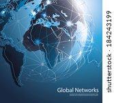 global networks   eps 10 vector ... | Shutterstock .eps vector #184243199