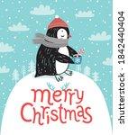 cute penguin drinking tea....   Shutterstock .eps vector #1842440404